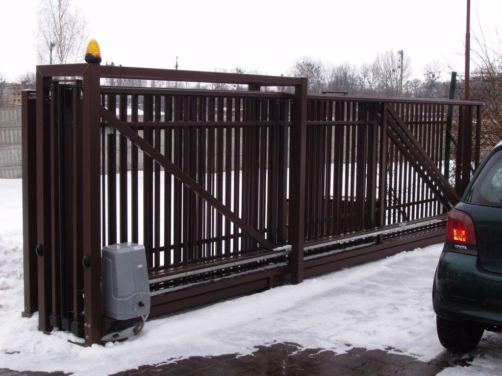 Brama przesuwna automatyczna teleskopowa - RAL8014